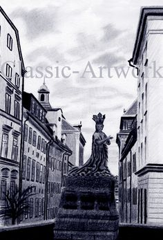 Stockholm, Gamla Stan, St Görans prinsessa. Nytryck efter teckning. €. Old Town in Stockholm. Famous statue of St George´s Princess. New, high resolution print made after a sketch.