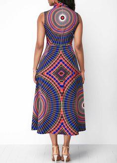 Sleeveless Printed Pocket Bowknot Neck Dress - Trend Way Dress African Dresses For Women, African Print Dresses, African Print Fashion, African Attire, African Wear, African Fashion Dresses, Fashion Prints, African Outfits, African Clothes