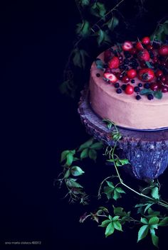 Cherry Berry Mousse Cake...cake is gorgeous, but the recipe is in another language :(