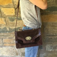 Brown Leather Envelope Cross Body Purse Vintage leather and suede envelope purse with great closure. By Sorpresa. Sorpresa Bags Crossbody Bags