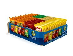 Get all of your favorites with this Frito-Lay classic mix variety pack. The Frito-Lay 50-count classic mix provides the perfect portion size and flavor variety to keep your entire family happy. From the pantry to the lunch box, all you have to do is grab a pack and go. This pack of 50 single-serve bags of Frito-Lay favorites includes: 10 Fritos original corn chips, 4 lay's sour cream and onion flavored potato chips, 12 lay's classic potato chips, 16 Cheetos crunchy cheese flavored snacks…