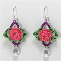 Tatted Rose Earrings by tattfae , via Flickr.