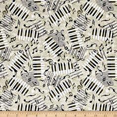 MODERN MUSIC NOTES SWIRLS CIRCLES BLACK WHITE COTTON FABRIC FQ