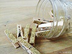 Gold Glitter Mini Clothes Pins, Set of 12, Glass Faceted Mini  Mason Jar, Holiday Decor, Wedding, Bridal, Gift Set on Etsy, $12.00