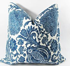 John Robshow Blue and White Cotton Pillow Cover. Lumbar Pillow Blue and White. Pillow Cover Design, Decorative Pillow Covers, Throw Pillow Covers, Throw Pillows, Blue And White Pillows, Blue Pillows, Imperial Dragon, Blue Willow China, Guest Room Decor