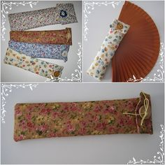 ANA LABORES. Fundas para abanicos. Glasses Case, Creative Words, Sewing Hacks, Diy Crafts, Hand Crafts, Applique, Quilts, Cool Stuff, Projects