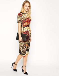 Image 4 ofASOS TALL Wiggle Dress in Textured Large Floral Print