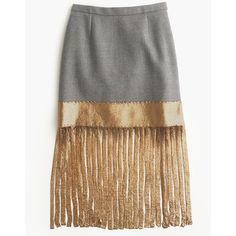 J.Crew Wool Skirt With Metallic Fringe ($470) ❤ liked on Polyvore featuring skirts, long wool skirts, long metallic skirt, elastic waist skirt, below knee skirts and j. crew skirts