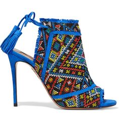 Aquazzura Colorado embroidered suede sandals ($785) ❤ liked on Polyvore featuring shoes, sandals, heels, blue, tie sandals, aquazzura shoes, heeled sandals, blue suede sandals and blue high heel shoes
