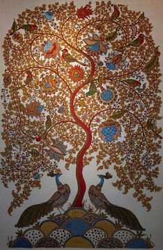 Tree of Life 'Kalamkari' painting. The 3000 yr old ancient art of painting on fabric using colors derived from plant roots and vegetables. Andhra Pradesh, India.
