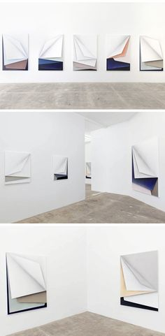 acrylic paintings on canvas that look a lot like layers of folded paper. A work of Prague-based painter Ira Svobodová