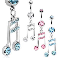 Multi Paved Joined Music Note Navel Ring