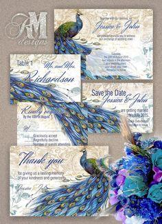 Personalised/Customised Wedding Peacock by ABVdesigncompany
