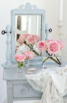 Beautiful Shabby Chic Blue & Pink