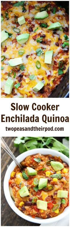 Slow Cooker Enchilada Quinoa Recipe on http://twopeasandtheirpod.com This easy crockpot dinner is a family favorite. Kids and adults love this easy meal!