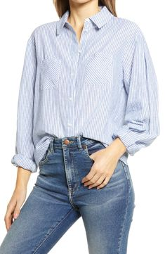 Free shipping and returns on Treasure & Bond Two-Pocket Button-Up Shirt at Nordstrom.com. This breezy linen-blend shirt covered in soft stripes features handy chest pockets and a tuckable shirttail hem.When you buy Treasure & Bond, Nordstrom will donate 2.5% of net sales to organizations that work to empower youth.