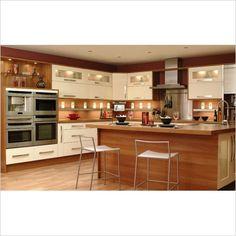 Küche in L Form - matt weiße Fronten und Holz Arbeitsplatte ... | {Küchenarbeitsplatte holz 7}