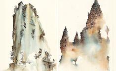 готический собор– акварель– архитектурные акварели художника Sunga Park– художник– европейский– архитектура–   Архидея