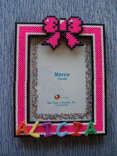 Photo frame hama beads by vanesuki2010 - pelillosuki
