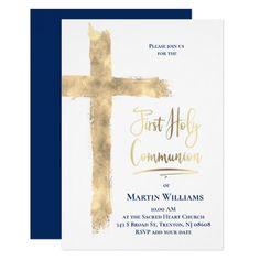 Faux gold foil cross First Communion Invitation   Zazzle.com
