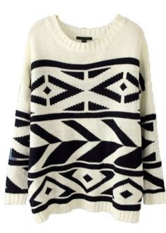 White Batwing Long Sleeve Geo Pattern Sweater