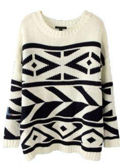 White Batwing Pattern Sweater//
