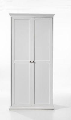 Paris Garderobeskab - Garderobeskab i hvid melamin. Skabet har et bøjlerumsmodul med en tophylde og et hyldemodul. Garderobeskabet har to låger, hvis antik-lignende metalgreb fremhæver dets romantiske look.