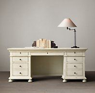 Restoration Hardware Desk St. James Desk Evoking the architectural classicism of turn-of-the-century design, St. James is grand in both scale and beauty.