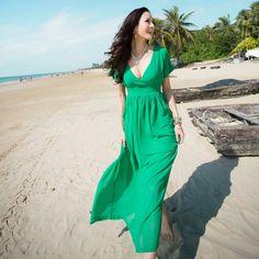 Bonnie Solid V Neck Short Sleeve High Waist Chiffon Beach Dresses