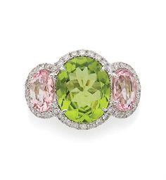Peridot, Pink Tourmaline and Diamond Ring   18 kt. white gold, one oval peridot ap. 2.75 cts., ap. 4 dwt.