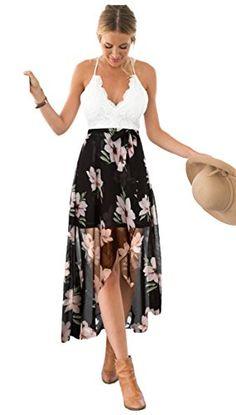 b90c37fc2e897 Blooming Jelly Femmes Halter Lace Asymétrique Floral Maxi Robes pour Les  Femmes d'été Blanc