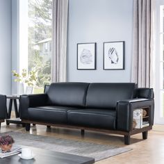 Introducing this unique sofa with shelving. This modern sofa provides a comfortable seating arrangement. Featuring tall armrests, pocket coil cushions, and shelves on each side, this sofa will provide a perfect addition to your living room.