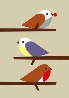 Three Birds print by Dicky Bird.