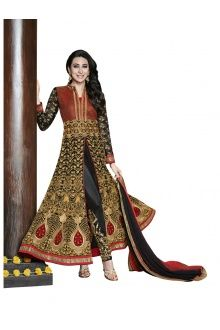 Bedazzling Red & Black Coloured Embroidered  Anarkali