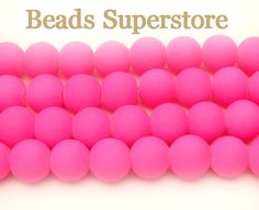 8mm Fluorescent Neon Pink Glass Round Bead  by BeadsSuperstore