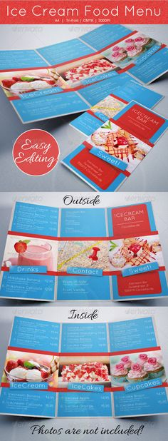 #GraphicRiver  features   297×210mm A4 + 3mm Bleed each side  300 DPI CMYK  Easy Photo replacement  Customizable text Front & Back  Pictures Model picture is NOT included in download file but can be downloaded here:   photodune /item/ice-cream/1875069  photodune /item/strawberry-smoothie/2031318  photodune /item/tasty-dessert-with-ice-cream/1097433                             GraphicsFilesIncluded: PhotoshopPSD Layered: Yes MinimumAdobeCSVersion: CS3 PrintDimensions: 297x210