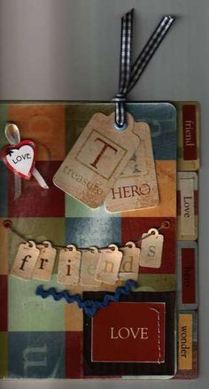 handmade  card  from tags and scraps
