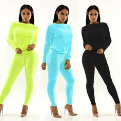 93221a2223f 2018 casual fashion solid tracksuits women two piece set top and pants suit  long sleeve candy