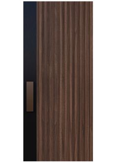 CHANNELED A custom door design paying homage to the glory days of mid-century modern, this design is made current with select grade wood and a strong vertical steel band. Rendering shown in Walnut. Custom Interior Doors, Interior Door Styles, Black Interior Doors, Door Design Interior, Wooden Main Door Design, Main Gate Design, Modern Door, Mid-century Modern, Internal Doors Modern