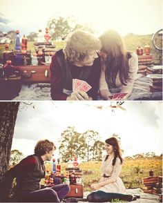 Love that they are on a picnic... engagement photo. Us playing Tunk.