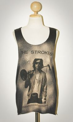 Julian The Strokes Black Tank Top Singlet Sleeveless Women Artis Musician Punk Rock T-Shirt Size L