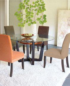 Cappuccino Dining Room Furniture   Wood base circular glass top