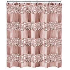 Sinatra Shower Curtain In Blush - The Sinatra Shower Curtain brings style and elegance to your bathroom. This chic shower curtain is designed with sequined panels for added flair. Coordinate with other Sinatra bath accessories for a complete look. Sequin Shower Curtain, Striped Shower Curtains, Custom Shower Curtains, Fabric Shower Curtains, Curtains Kohls, Shower Curtains Walmart, Swag Curtains, Pink Bathroom Decor, Bathroom Interior Design