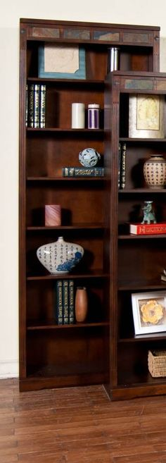 Shop Santa Fe Dark Chocolate Wood Wall Recessed Tall 84 Inch Bookcase with great price, The Classy Home Furniture has the best selection of to choose from Benchcraft Furniture, Furniture Design, Santa Fe, Wood Wall, Shelves, Rustic, Chocolate, Bookcases, Dark