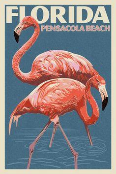 Pensacola Beach, Florida - Flamingo - Letterpress - Lantern Press Poster