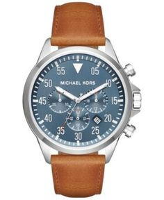 Michael Kors Men's Chronograph Gage Luggage Leather Strap Watch 45mm MK8490 - Steel Blue/luggage