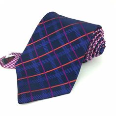 NEW TOMMY HILFIGER 56 Short Classic Blue Purple Coral Plaid 100% Silk Neck Tie | Men's Fashion & Style | Shop Menswear, Men's Clothes, Men's Apparel at designerclothingfans.com