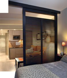 Great room divider for a studio apartment. Great idea!
