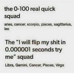 I'm a Gemini.                                                  My boyfriend is a Virgo.                           We shit flippers.