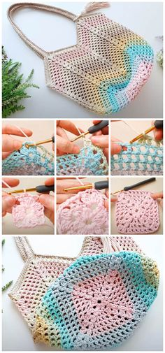 Learn to Crochet - Granny Square Crochet Bag is one of the most versatile crochet patterns that exists. This bag is perfect size for rushing around and getting things done. Bag Crochet, Crochet Market Bag, Crochet Purses, Crochet Granny, Crochet Crafts, Crochet Stitches, Crochet Projects, Sewing Crafts, Crochet Beach Bags